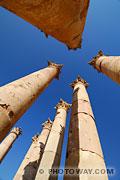 Photos des colonnes du temple de Jerash en Jordanie