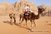 Photos d'une caravane dans le désert du Wadi Rum en Jordanie
