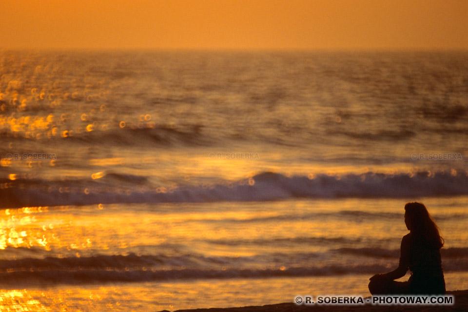 Photo du soleil couchant sur l'Océan pacifique - photos en Californie