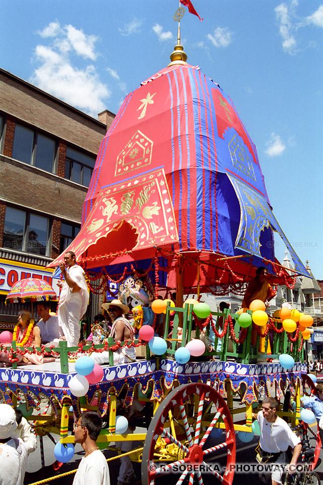 image d'un défilé de la secte Krishna - photos à Montréal