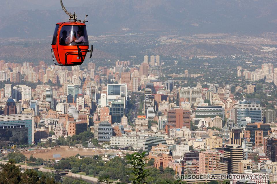 Photos du vertige depuis le téléphérique de Santiago au Chili