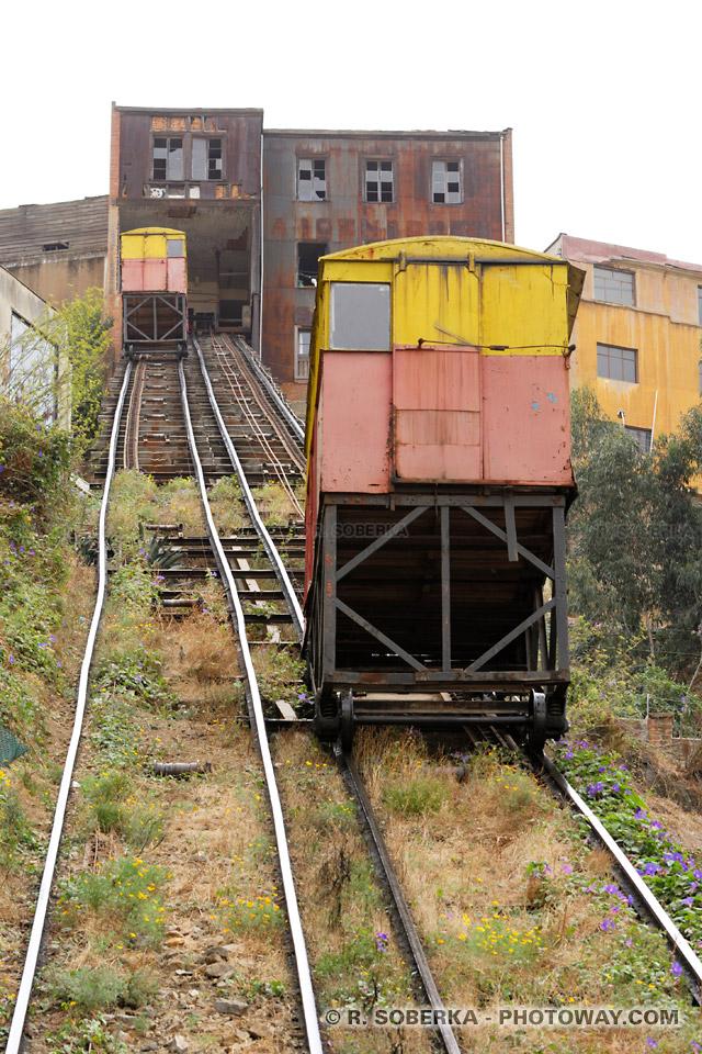 funiculaire à Valparaiso Photo de rails tordus et cabines vétustes