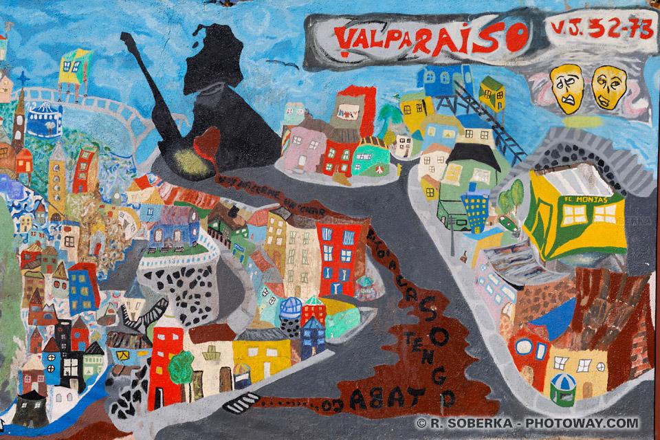 Peinture fresque sur un mur de Valparaíso au Chili