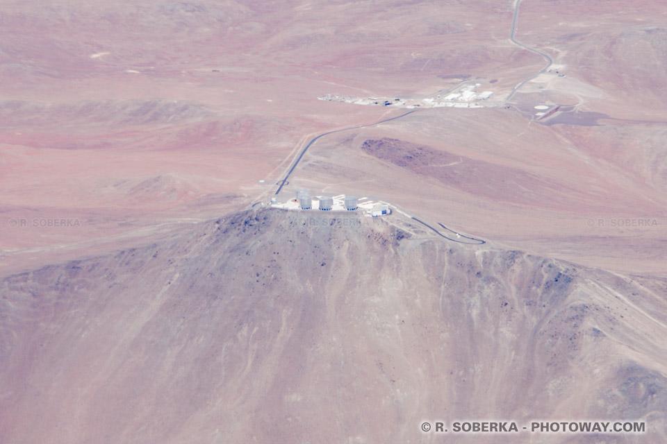 Photo aérienne du mont Paranal et des VLT photos aériennes télescopes au Chili