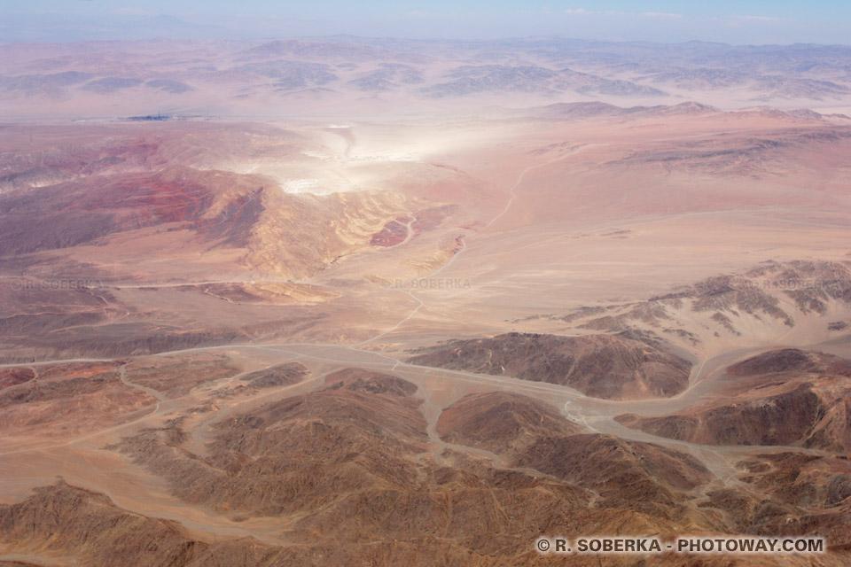 Photo aérienne du Chili et mines du désert d'Atacama