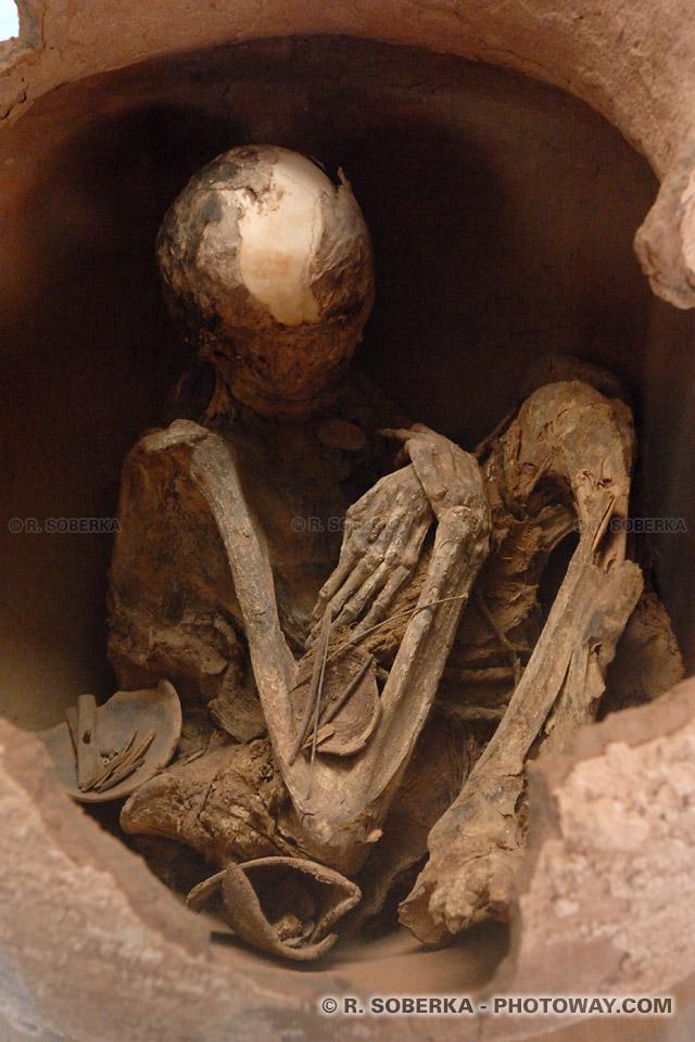 Photo d'une momie dans une urne funéraire au Chili