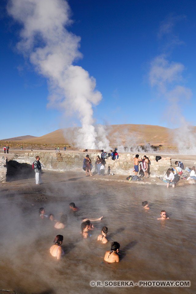 eau sources géothermales photo baignade geysers del Tatio Chili