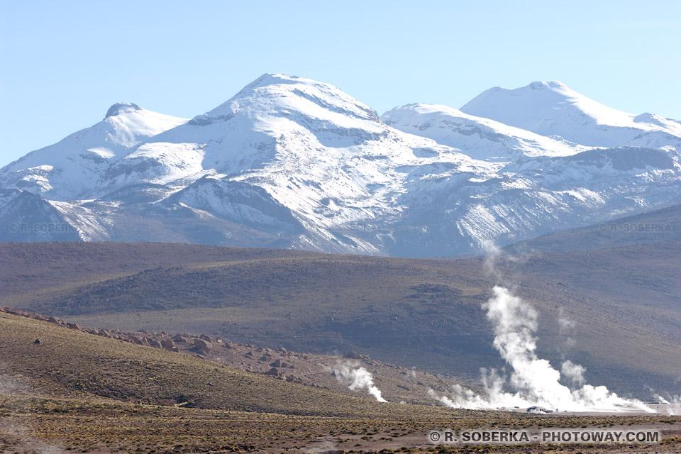 Volcans de la cordillère des Andes au Chili