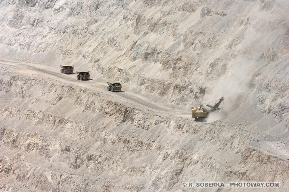 Minerai du cuivre extraction dans la mine de Chuquicamata au Chili