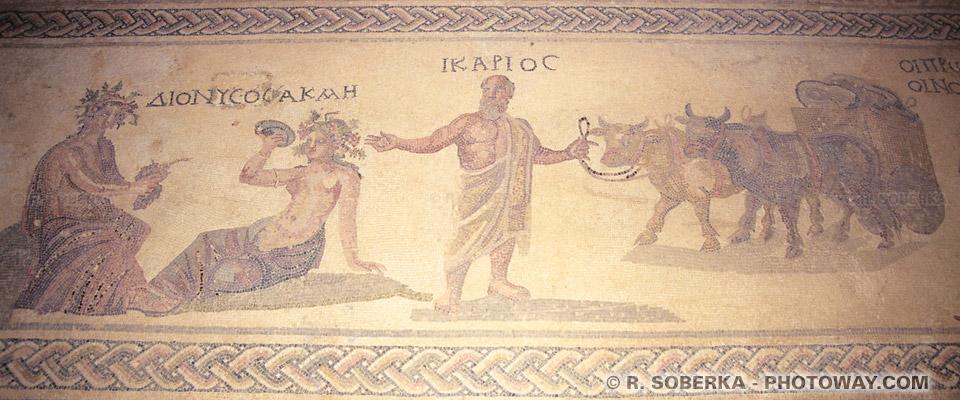 Photo de Dionysos dieu de la vigne et vin photos mosaïque d'Icarios