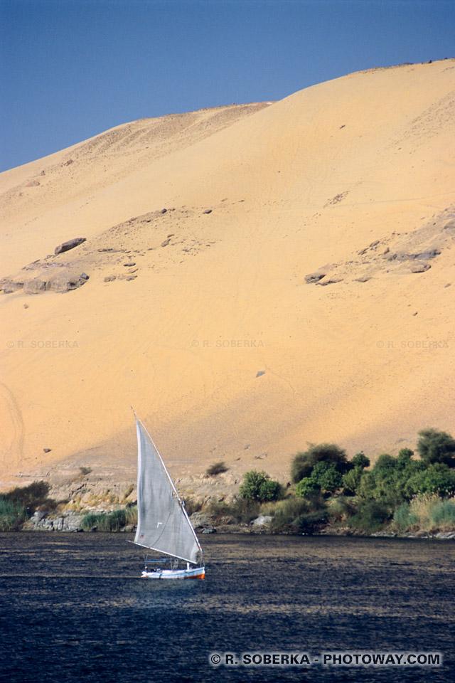 Photos de dunes de sable au bord du Nil photo reportage à Assouan guide en Egypte