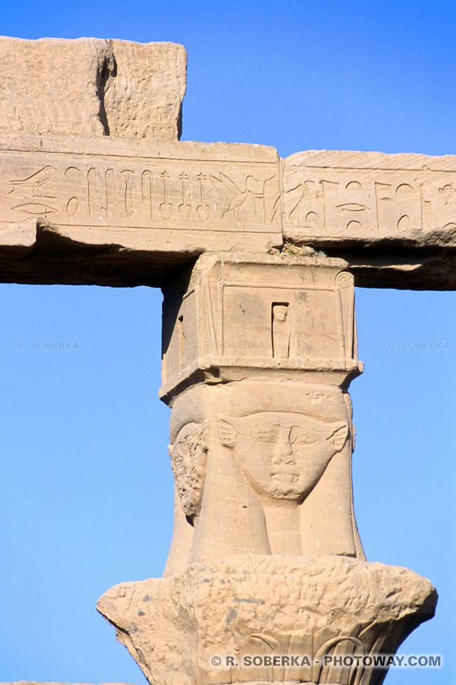 Photos de la déesse Hator images de déesses temple de Philae Egypte