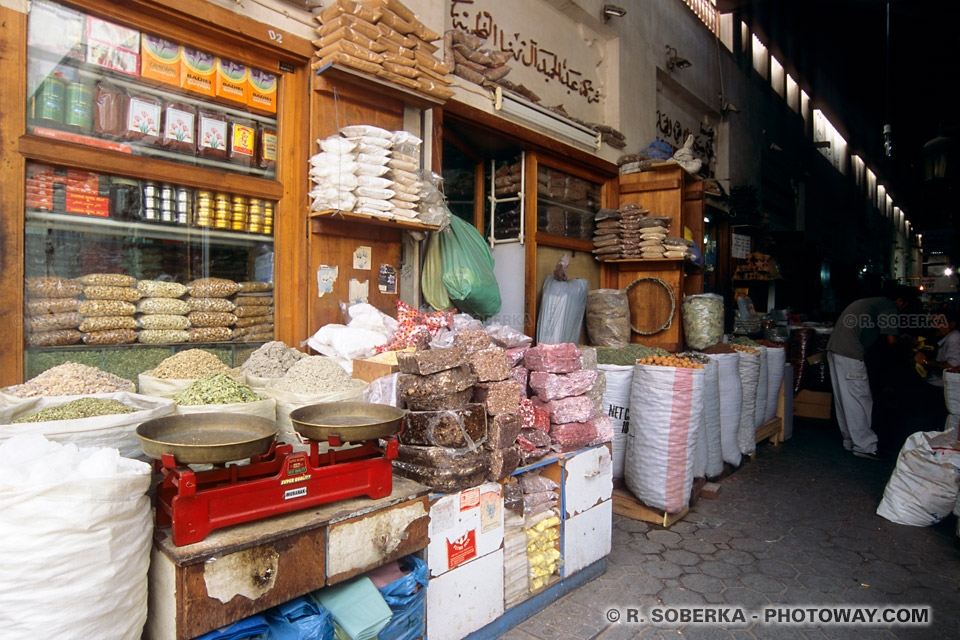 Image Photo des souks de Dubaï photos du Moyen-Orient Emirats Arabes