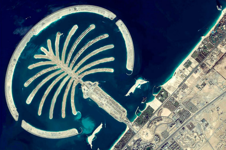 Image satellite photos satellite photo de Palm Island Emirats Arabes Unis