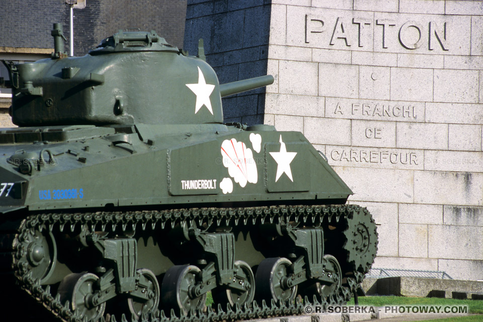 Images Photos du char Sherman photos du général patton photo à Avranches