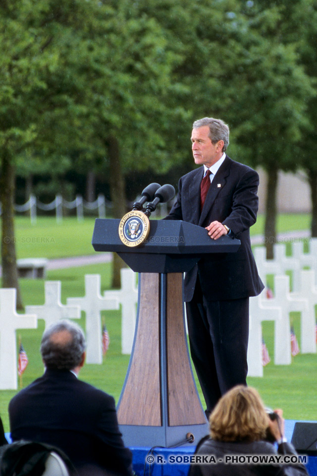 Photo de George Bush photos du président Bush Colleville Normandie