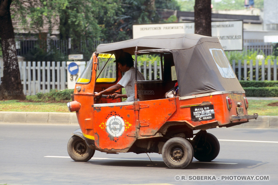 Photos de Triporteurs à moteur, photo d'un triporteur Indonésien