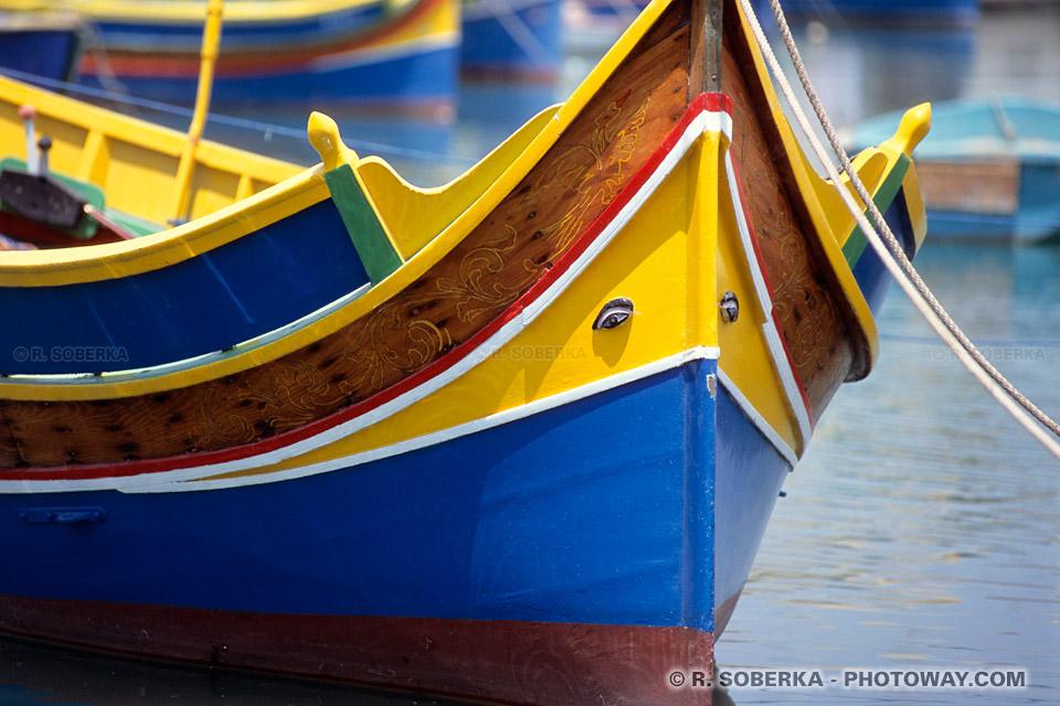 Images Photos de Luzzu bateaux traditionnels maltais à Marsaxlokk Malte