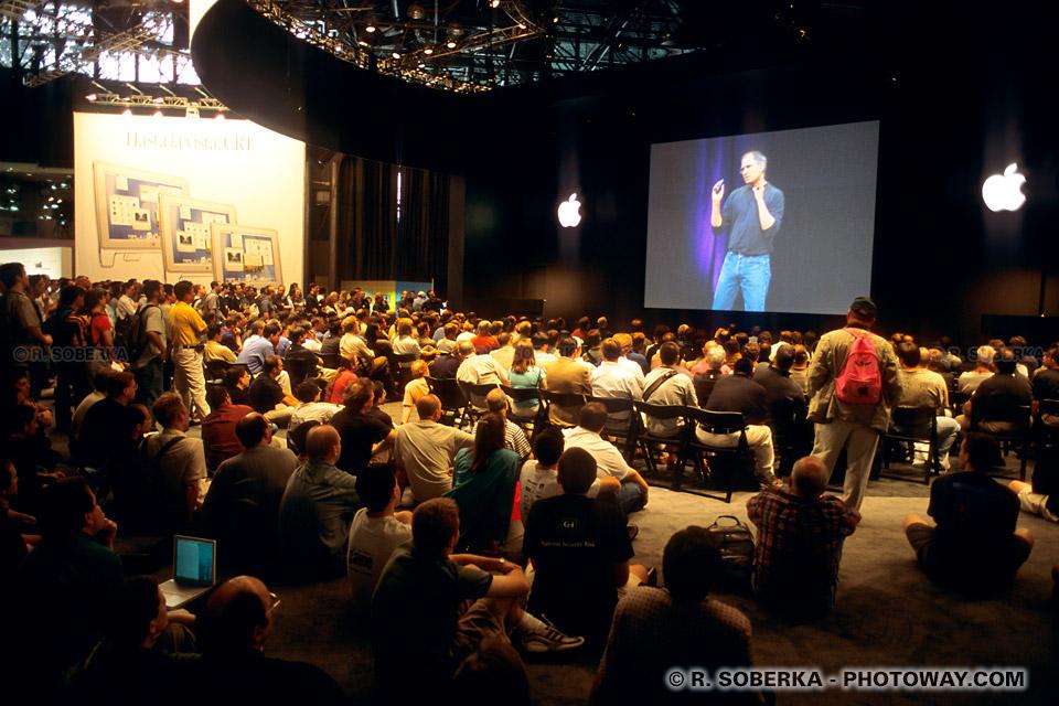 Image Photo de Steve Jobs photos du CEO d'Apple présentant des MacintoshPhoto d Wall Street photos du Federal Hall visite de la bourse Américaine