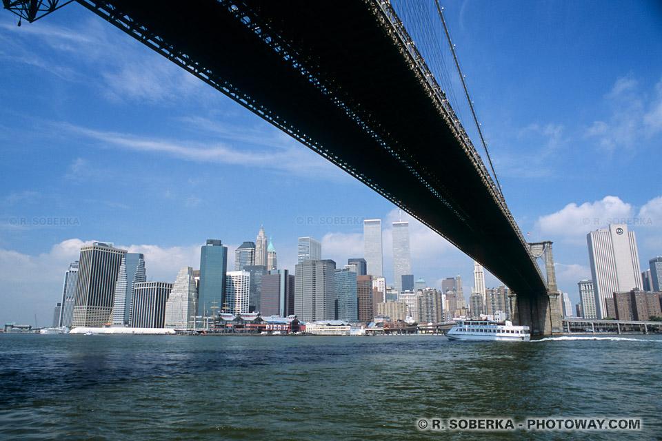 Images Buildings de Manhattan photo depuis le Brooklyn Bridge de New York