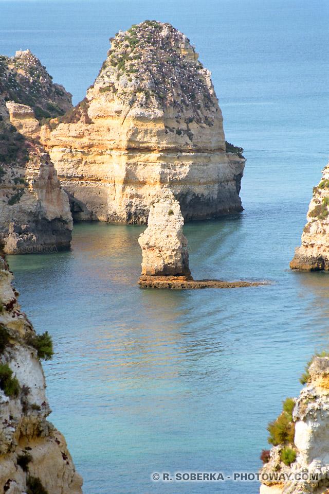 Photos de roches calcaires en Algarve, photo de l'érosion des côtes