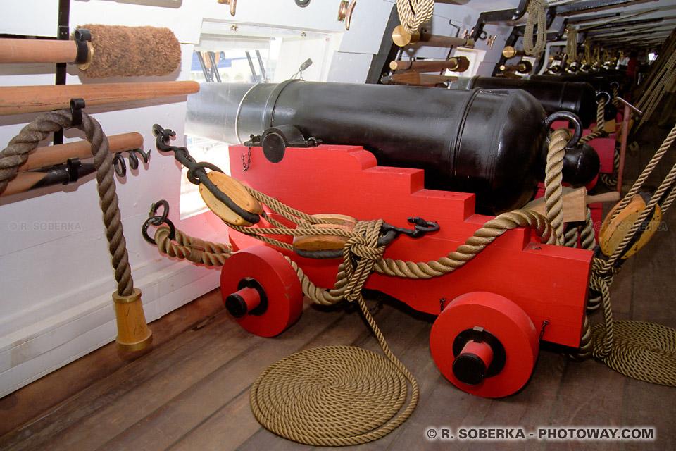 Photos de pièces d'artillerie de navires : photo d'une pièce d'artillerie