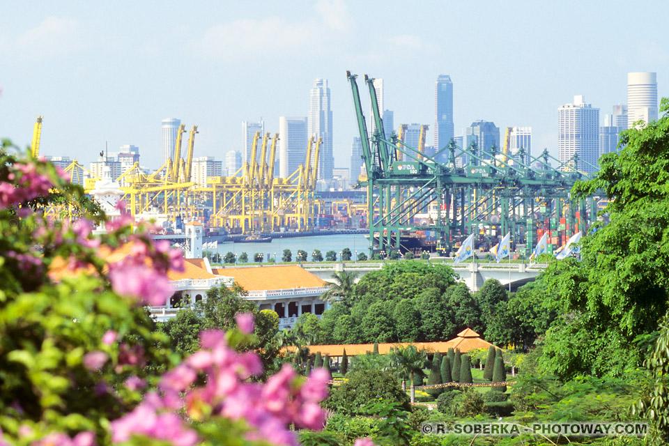 Images et photos du port de Singapour photo de grues et docks en Asie