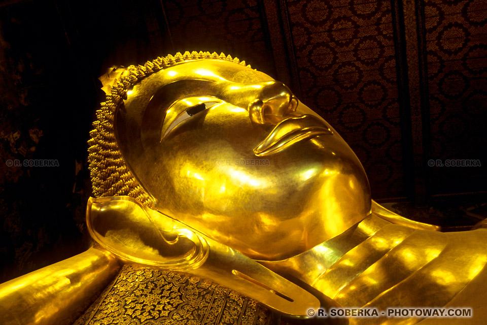 Photos de la tête de statue de bouddha couché de Bangkok