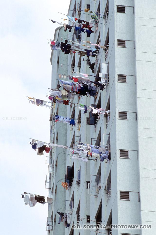 Linge au fenetres de Singapour