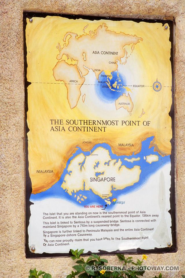 Carte de l'Asie à l'extrémitée de continent asiatique à Sentosa